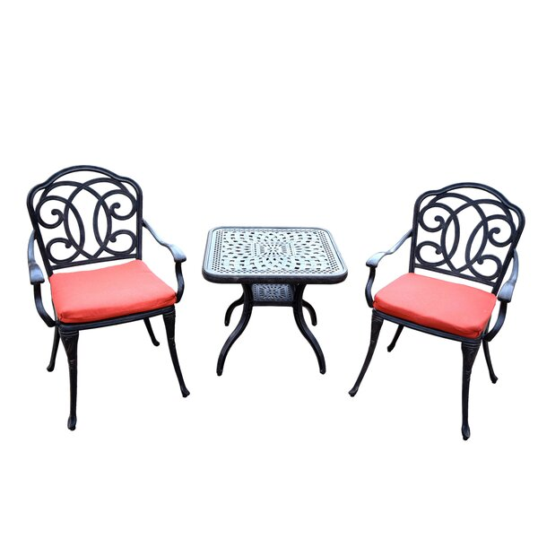Robicheaux 3 Piece Dining Set with Cushions by Fleur De Lis Living