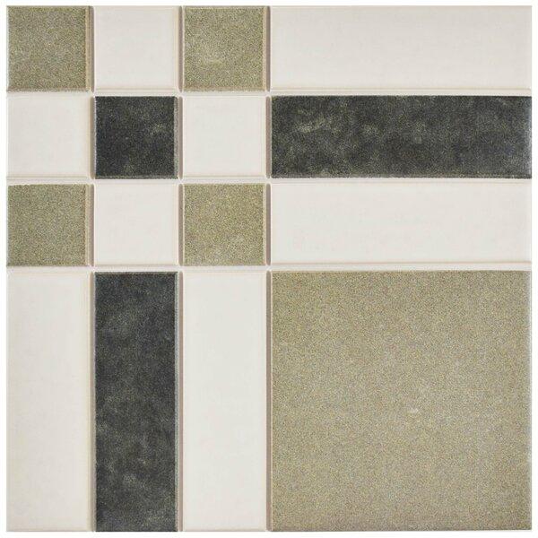 Cien 9.75 x 9.75 Porcelain Field Tile in Tan/Black by EliteTile