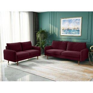 Mid Century Livingroom Sofa Sets Modern Design Upholstered Velvet Sofa With Round Wood Legs by Kingway INC