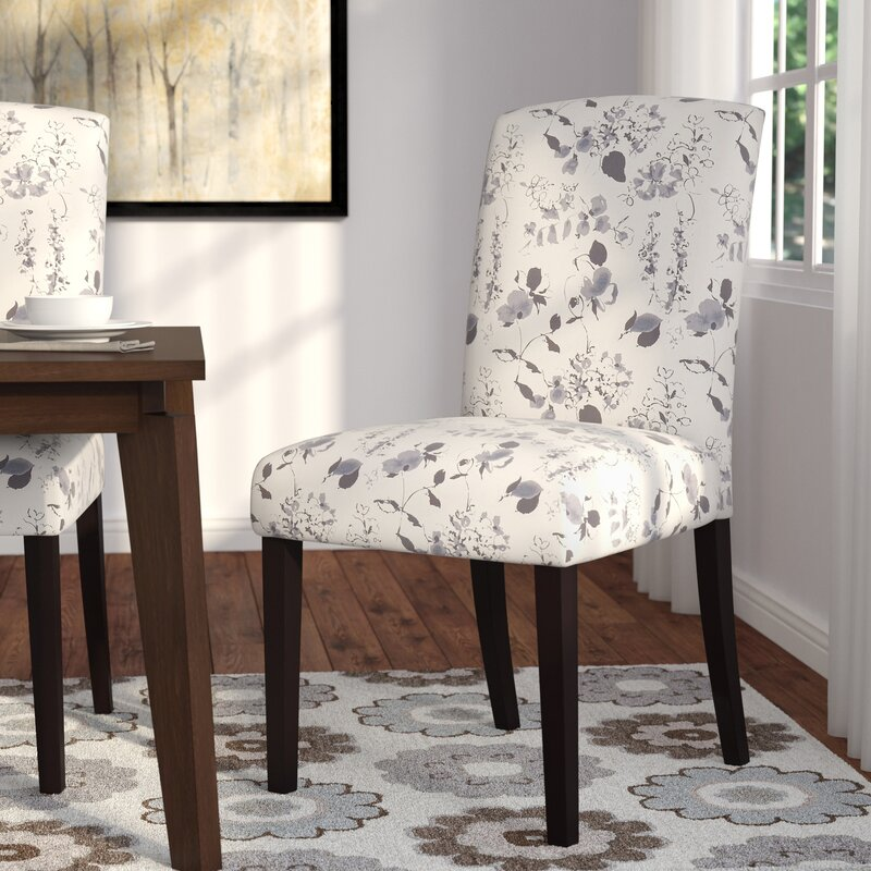 Buchanan Upholstered Side Chair In Soft Blue Floral