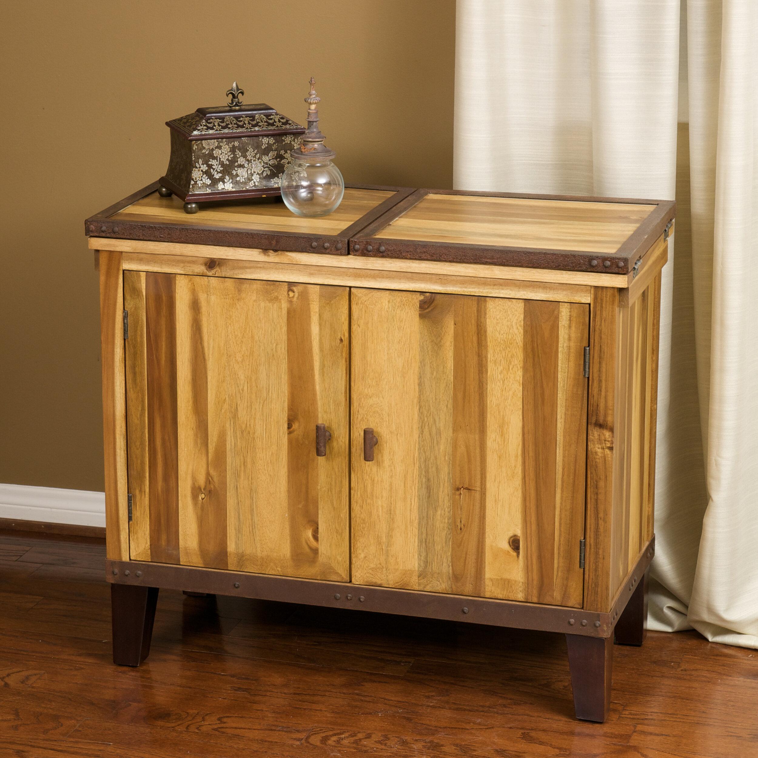 Home loft concepts knox acacia wood bar cabinet reviews wayfair