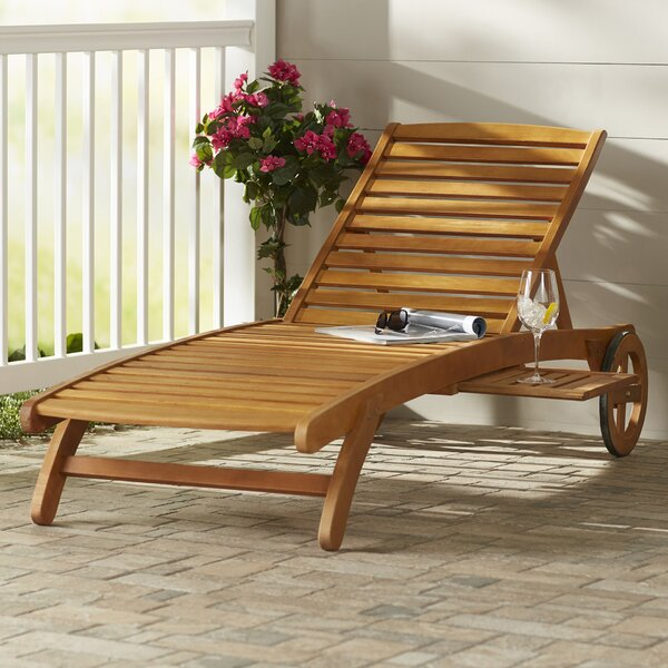 Joaquin Balau Wood Patio Reclining Chaise Lounge by Beachcrest Home Beachcrest Home