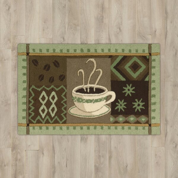White Green Coffee Area Rug by Andover Mills