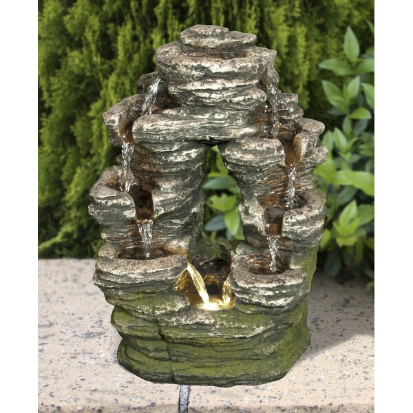 Resin Multi-Level Stone Fountain with LED Light by Hi-Line Gift Ltd.