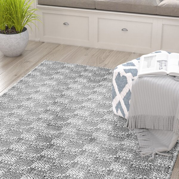 Burley Hand-Braided Cotton Ivory/Gray Area Rug by Gracie Oaks