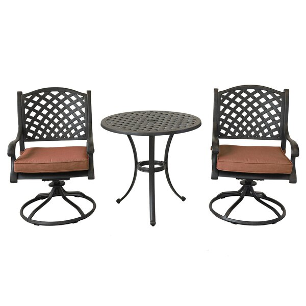 Sherpa 3 Piece Bistro Set with Cushions by Charlton Home