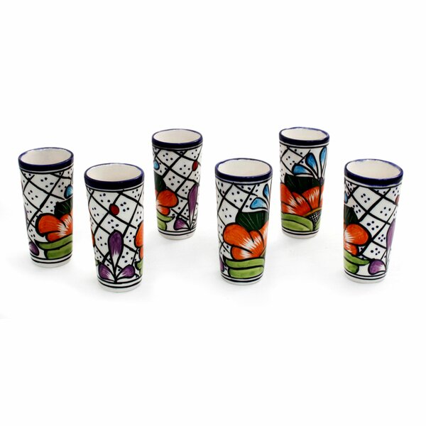 Floral 2 oz. Ceramic Shot Glass (Set of 6) by Novica