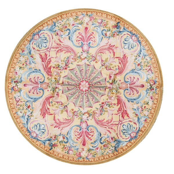 One-of-a-Kind Renaissance Hand-Knotted Beige/Blue/Pink 8'1 Round Wool Area Rug
