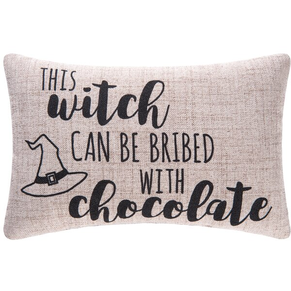 This Witch Can Be Bribed Halloween Lumbar Pillow by C&F Home