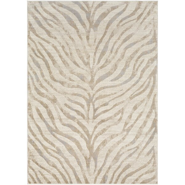 Aine Distressed Animal Print Light Gray/Beige Area Rug by Mercer41