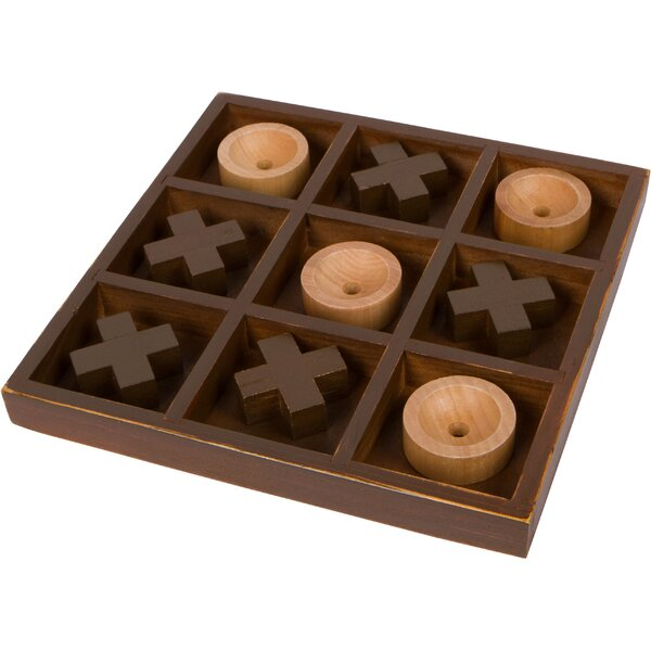 10 Wooden Décor Game Desk Top Tic Tac Toe Game by Trademark Innovations