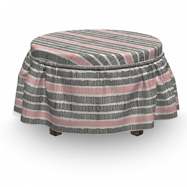 Abstract Retro Lines Hipster 2 Piece Box Cushion Ottoman Slipcover Set By East Urban Home
