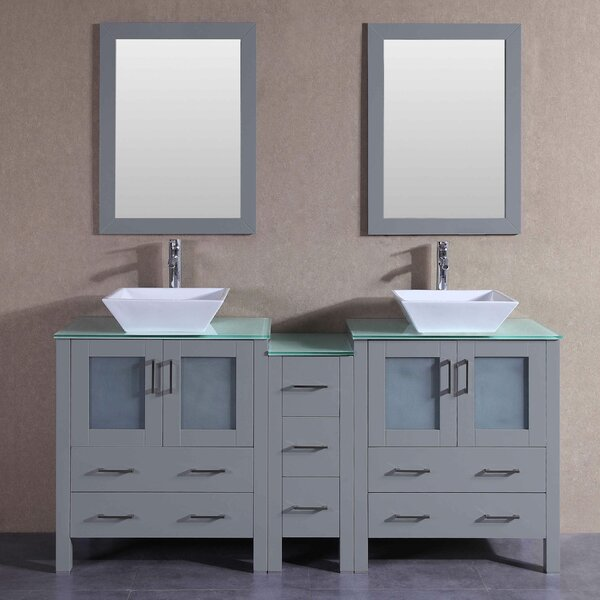 Jude 71 Double Bathroom Vanity Set with Mirror by Bosconi