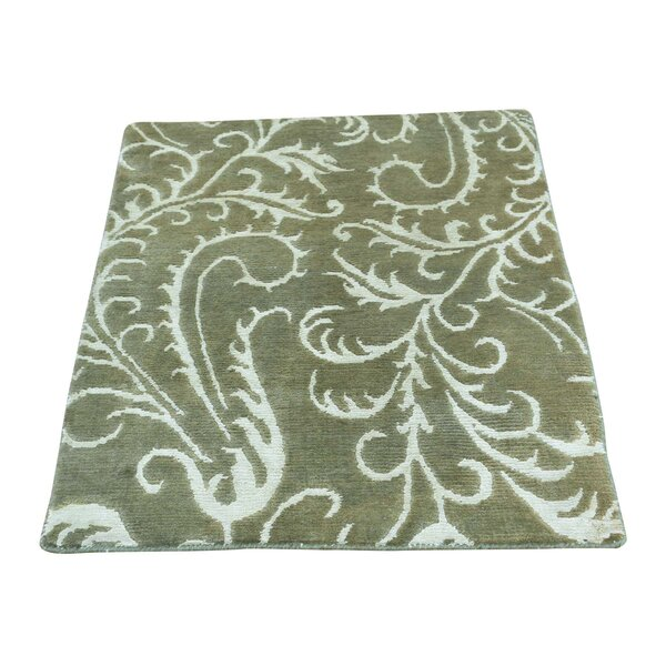 One-of-a-Kind Richman Nepali Olive Oriental Hand-Knotted Silk Green Area Rug by Winston Porter