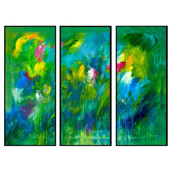 Blooming Field 3 Piece Framed Painting Print Set by PTM