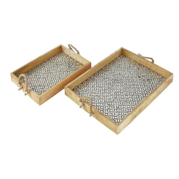 2 Piece Wood Mosaic Rope Tray Set by Cole & Grey