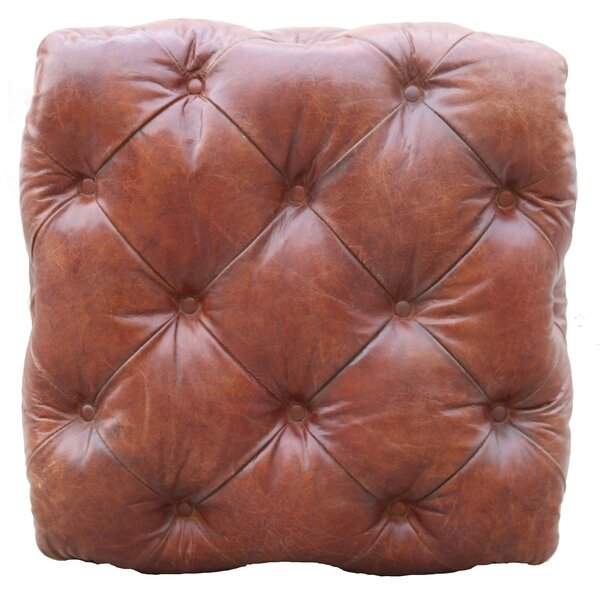 Paris Club Leather Tufted Ottoman By Pasargad