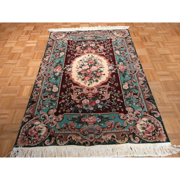 One-of-a-Kind Rhyne Aubusson Hand-Knotted Wool Burgundy Area Rug by Astoria Grand