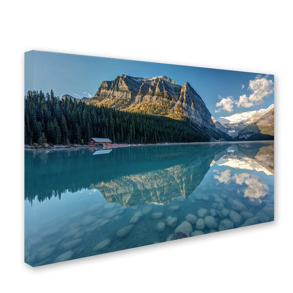 Calm Lake Louise Morning by Pierre Leclerc Photographic Print on Wrapped Canvas by Trademark Fine Art