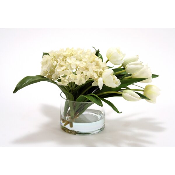 Waterlook Silk Hydrangeas and Stage Tulips with Cylinder Vase by Distinctive Designs