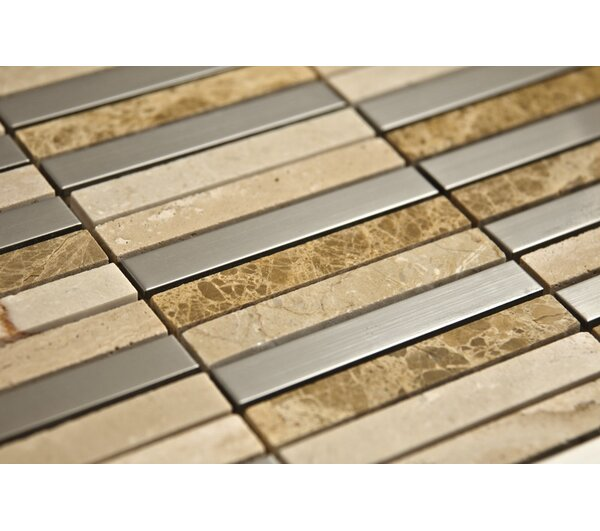 1 x 4 Mixed Material Mosaic Tile in Copper by Luxsurface