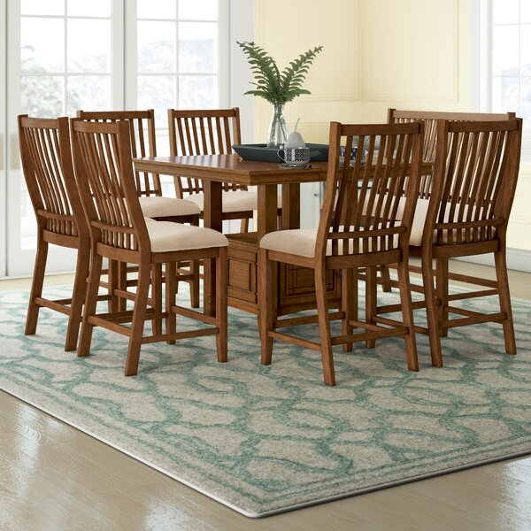 Quaker 8 Piece Solid Wood Dining Set by Alcott Hill