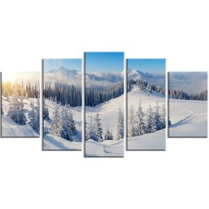 'Winter Mountains Panorama' 5 Piece Wall Art on Wrapped Canvas Set by Design Art
