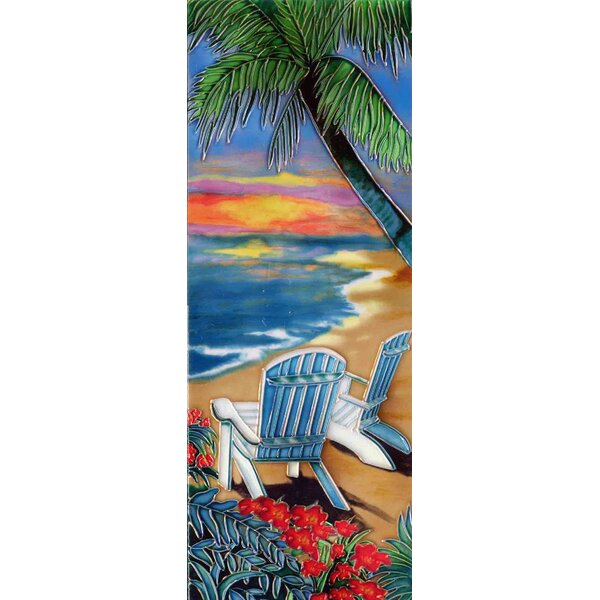 Palm with Chairs on Beach Tile Wall Decor by Continental Art Center