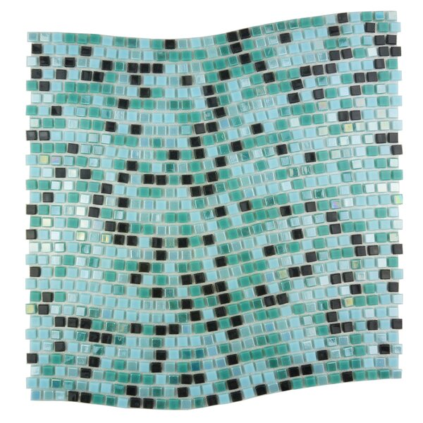 Galaxy Wavy 0.31 x 0.31 Glass Mosaic Tile in Turquoise/Black by Abolos