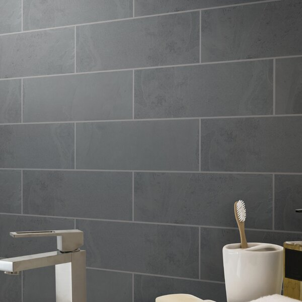 Montauk 4 x 12 Slate Subway Tile in Black by MSI