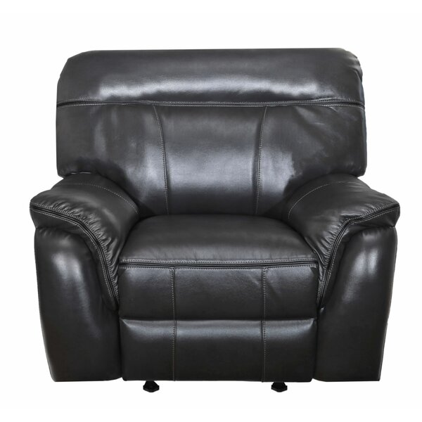 Leatherette Upholstered Motion Glider Recliner, Black W001793379