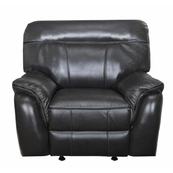 Leatherette Upholstered Motion Glider Recliner, Black W001793379