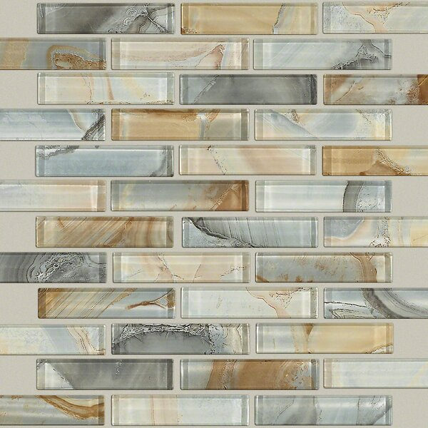 Neptune 1 x 4 Glass Mosaic Tile in Gilt by Shaw Fl