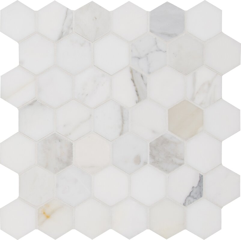 "Calacatta Hexagon Polished 2"" x 2"" Marble Mosaic Tile in White #calacattagold #marbletile #hexagon #tile"