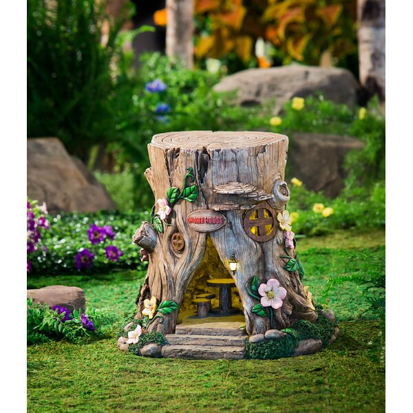 Lighted Tree Stump Fairy House Figurine by World Menagerie