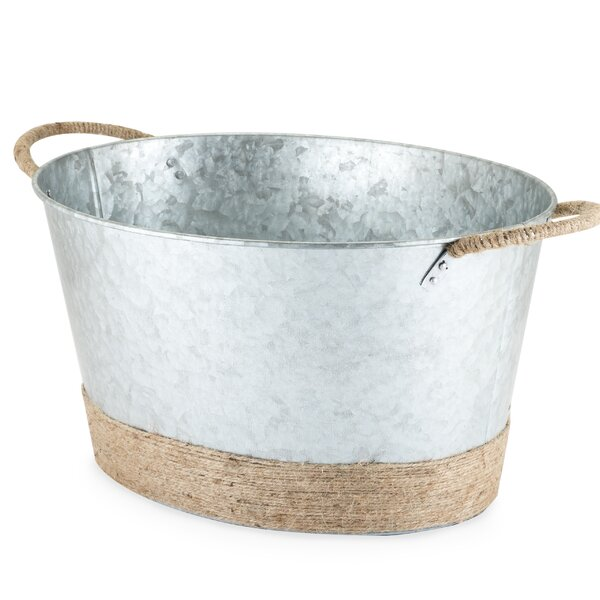 Seaside Jute Rope Wrapped Galvanized Beverage Tub