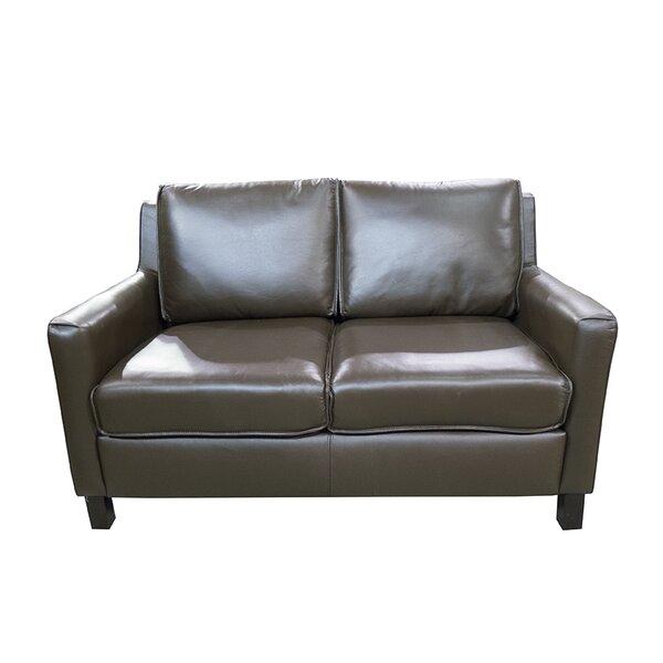 Sereno Standard Leather Loveseat by Loon Peak