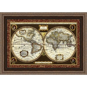 Trends Decorative World Map Framed Graphic Art by Ashton Wall Décor LLC