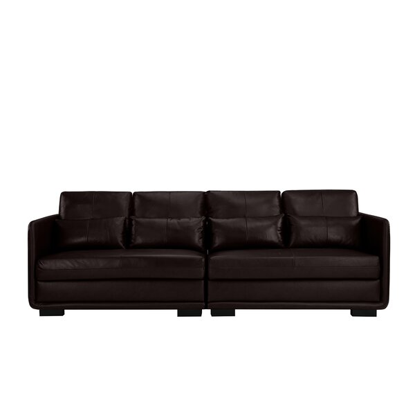Price Comparisons For Kiana 2 Piece Convertible Leather Sofa by Ebern Designs by Ebern Designs