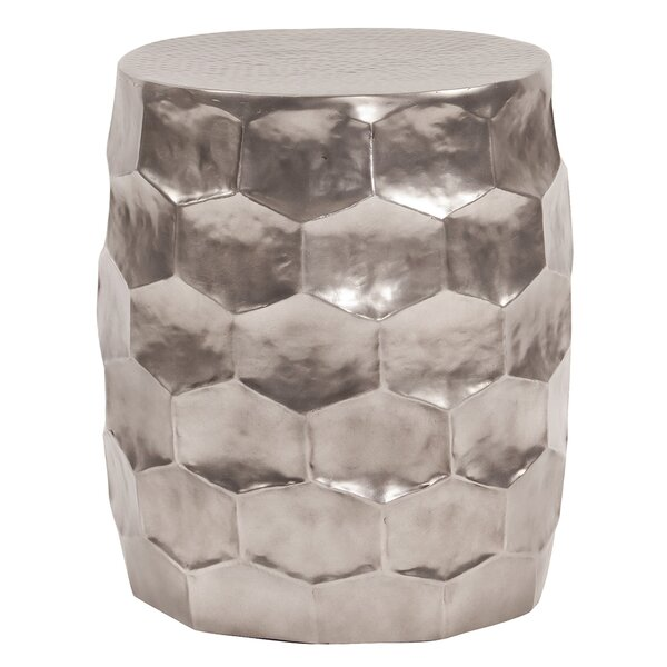 Pearl Street Hammered Aluminum Accent Stool by Bloomsbury Market