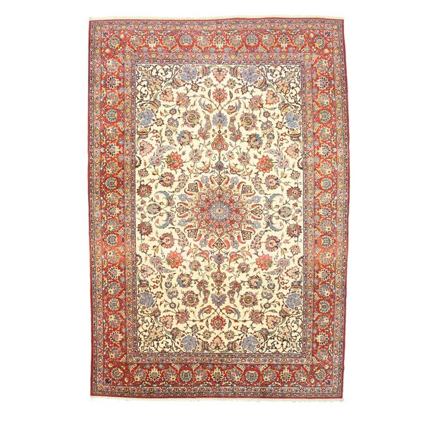 Hand Knotted Ivory Area Rug by Eastern Rugs