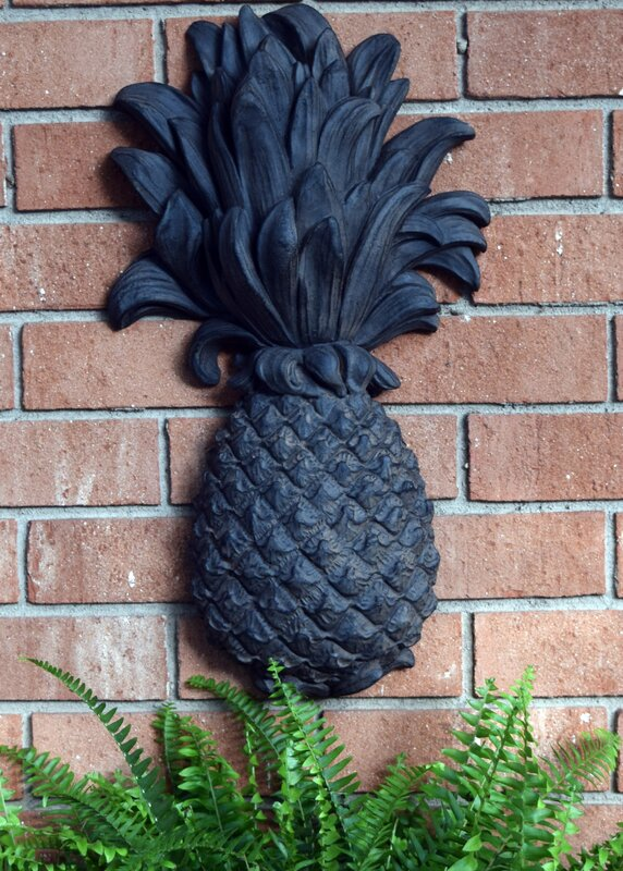 Lovely Outdoor Pineapple Plaque Wrought Iron Wall Décor