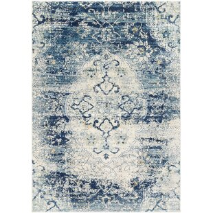 West Sacramento Vintage Distressed Navy Blue Area Rug