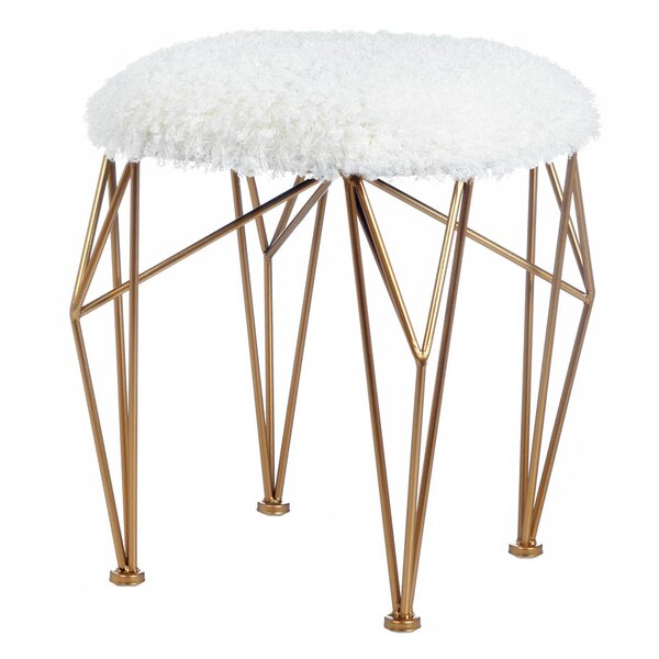 Rozier Geo Faux Fur Accent Stool by Mercer41
