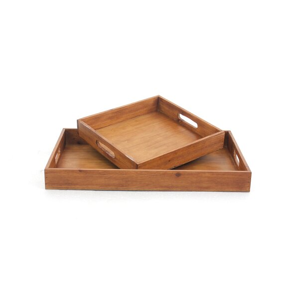 Schill Wood Tray (Set of 2) by Millwood Pines