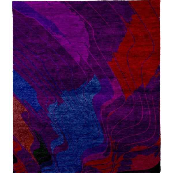 One-of-a-Kind Aubriana Hand-Knotted Purple/Blue/Red 8' Square Wool Area Rug