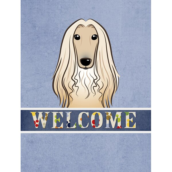 Welcome Afghan Hound Vertical Flag by Caroline's Treasures
