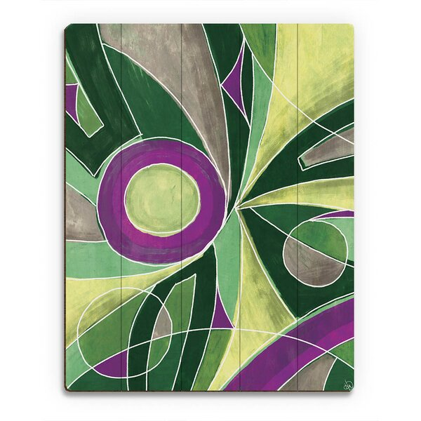 Convergence Painting Print on Plaque in Green and Purple by Click Wall Art
