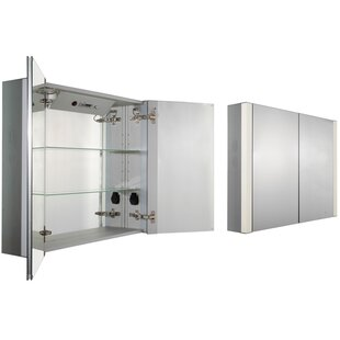 Reviews Musichaus 35 x 27.5 Surface Mount Medicine Cabinet with LED Lighting ByWhitehaus Collection