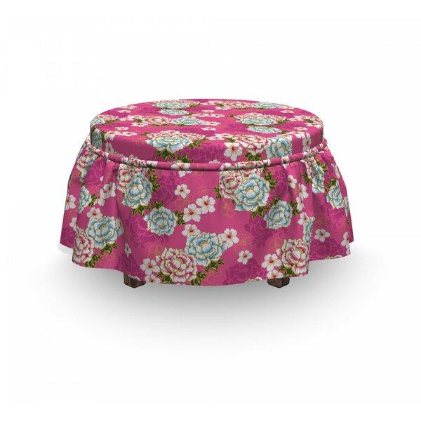 Floral Taiwan Hakka Culture 2 Piece Box Cushion Ottoman Slipcover Set By East Urban Home